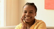 Close up of African American woman smiling Stock Footage