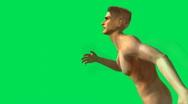 Naked Man Running Green Screen 2 Stock Footage
