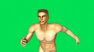 Naked Man Running Green Screen 3 Stock Footage