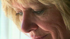 Closeup portrait of mature woman feeling stressed Stock Footage
