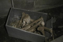 Graveyard-Cemetery at night - box full of bones 1 Stock Footage