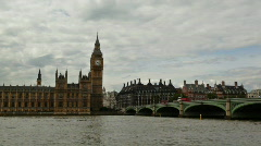 Big Ben From Across River Thames - stock footage