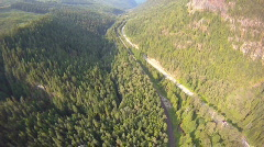 Aerial, flight over forest and highway Stock Footage