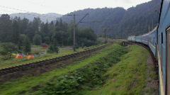 Passenger train goes to Carpathians (Full HD) - stock footage