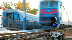 Train and warning light Stock Footage