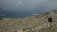 Mountain Hiking in Mongolian Altai at Khoton Nuur lake  Stock Footage