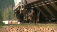 Railroad, freight train going up heavy grade, nice compressed background Stock Footage