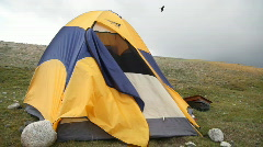 Camping in Mongolian Altai at Khoton Nuur lake Stock Footage