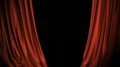 Red/blue Curtains Opening On Stage. Includes Alpha. - stock footage