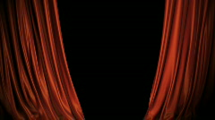 Red/blue Curtains Opening On Stage. Includes Alpha. Stock Footage