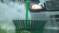 Street Flood Cars Stock Footage