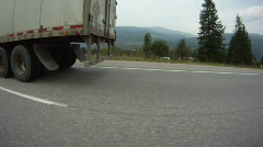 POV fisheye shot, transport truck on highway drive along Stock Footage