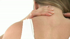 Bright woman having a neck ache Stock Footage