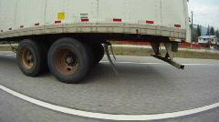 Trucking, fisheye shot, transport truck on road drive along Stock Footage