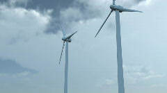 Wind turbines pan with blue sky and clouds Stock Footage