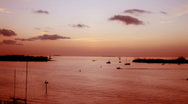 Sunset Red Boats Stock Footage