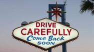 Drive Carefully Las Vegas Sign Stock Footage