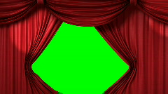 Opening red theatrical curtain with spotlights Stock Footage