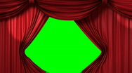 Stock Video Footage of opening red theatrical curtain with spotlights