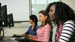 Students in computer classroom Stock Footage