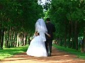 Just Married Couple Walking Down The Parkway Stock Footage