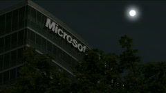 Microsoft Night Shot with Moon Stock Footage