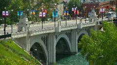 Traffic on Center Street Bridge Shimmering Mirage (time lapse) Stock Footage