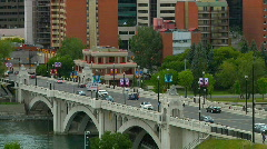 Traffic over Center Street Bridge Calgary East View (time lapse) Stock Footage