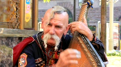 Old free Cossack (bandura player) Stock Footage