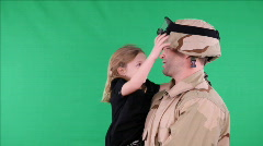 green screen soldier talking with daughter 1 - stock footage