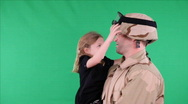 Green screen soldier talking with daughter 1 Stock Footage