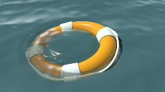 Lifebuoy at sea Stock Footage