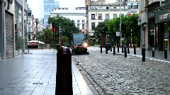 Street sweeper cleans street (HD) k Stock Footage