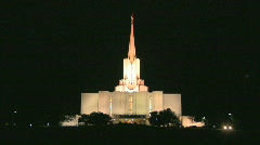 Mormon Temple Shines in the Dark at Night 1 Stock Footage