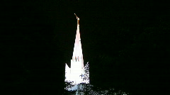 Mormon Temple Shines in the Dark at Night 2 Stock Footage