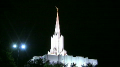 Mormon Temple Shines in the Dark at Night 3 Stock Footage