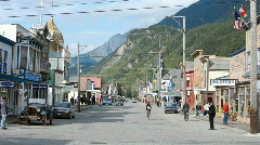 Skagway City Alaska town center old car P HD 8821 Stock Footage