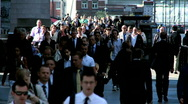 Streets of Busy Commuters Stock Footage