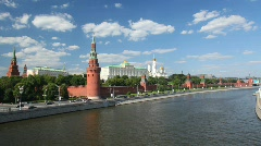 View on Kremlin from river, Moscow, Russia. Stock Footage