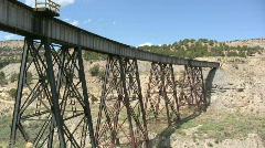 Train Tressel Goes over a Canyon in the Mountains 13 Stock Footage