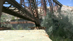 Train Tressel Goes over a Canyon in the Mountains 12 Stock Footage