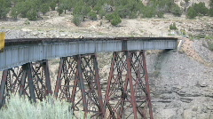 Train Tressel Goes over a Canyon in the Mountains 16 Stock Footage