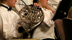 Horn Player in Orchestra (HD) co - stock footage