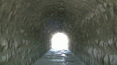 Walking Through a Tunnel Made of Bricks Stock Footage