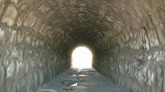 Walking In a Tunnel under the Train Trax Stock Footage
