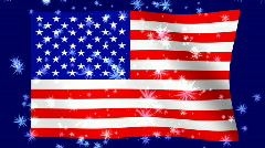Waving American Flag With Bursting Stars Stock Footage