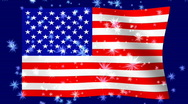 Stock Video Footage of Waving American Flag With Bursting Stars