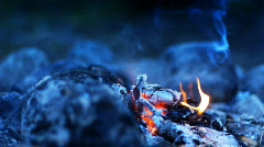 Bonfire in wilderness - stock footage