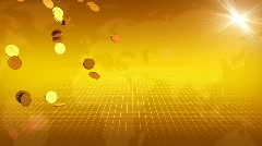 Gold Coins and World Map Behind Stock Footage