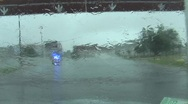 Stock Video Footage of Hurricane Earl - Behind Police Car in the storm w audio